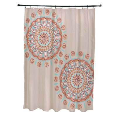Rajashri Circle in Center Geometric Shower Curtain Color: Beige/Coral