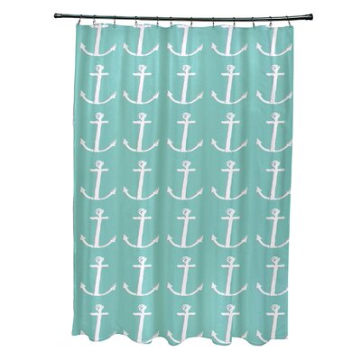 Rajashri Shower Curtain with 12 Hooks Color: Aqua/ Gray