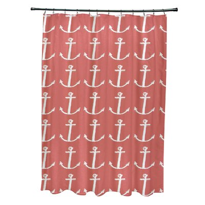 Rajashri Shower Curtain with 12 Hooks Color: Coral/ Taupe
