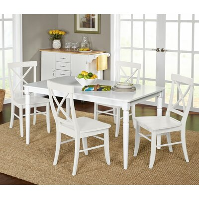 Brookwood 5 Piece Dining Set Chair Finish: White