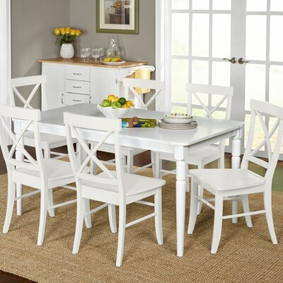 Brookwood 7 Piece Dining Set Chair Finish: White