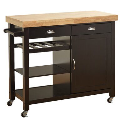 Nathaly Kitchen Cart with Wood Top Base Finish: Wenge/Natural