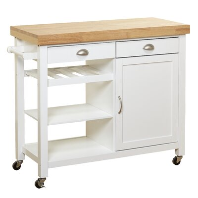 Nathaly Kitchen Cart with Wood Top Base Finish: White/Natural