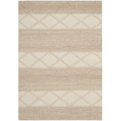 Williston Highlands Beige Tufted Wool Area Rug Rug Size: Rectangle 6 x 9