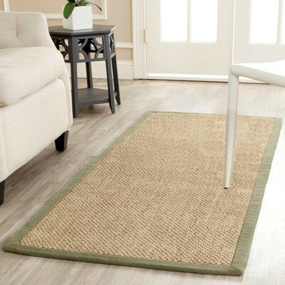 Richmond Natural/Green Rug Rug Size: Runner 26 x 16