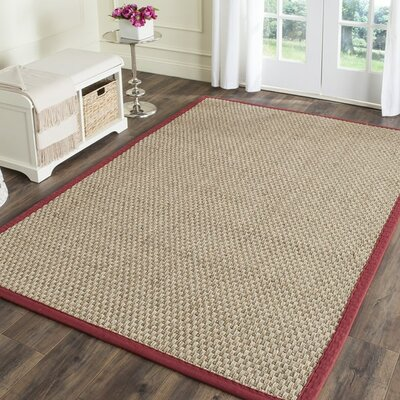 Richmond Hand-Woven Natural/Red Area Rug Rug Size: Rectangle 5 x 8