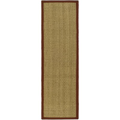 Richmond Hand-Woven Natural/Red Area Rug Rug Size: Runner 26 x 14
