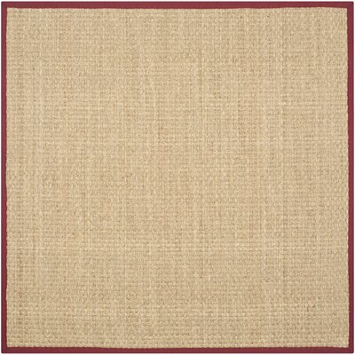 Richmond Hand-Woven Natural/Red Area Rug Rug Size: Square 8