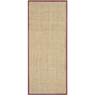 Richmond Hand-Woven Natural/Red Area Rug Rug Size: Runner 26 x 6