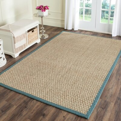 Richmond Natural/Light Blue Indoor Area Rug Rug Size: Round 8