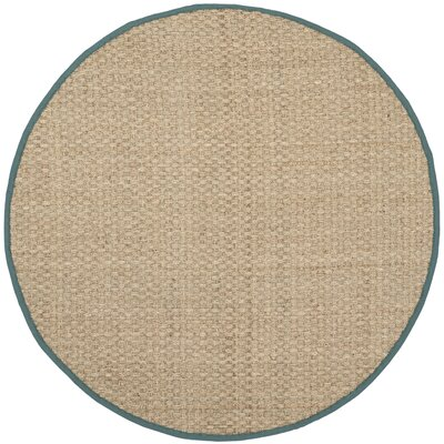 Richmond Natural/Light Blue Indoor Area Rug Rug Size: Round 6