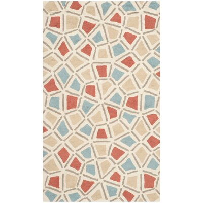 Atilia Red/Blue Geometric Area Rug Rug Size: 26 x 43