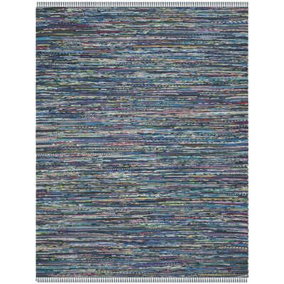 Eastport Hand Woven Cotton Blue Area Rug Rug Size: Round 4