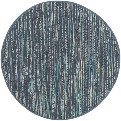 Eastport Hand Woven Cotton Blue Area Rug Rug Size: Round 6