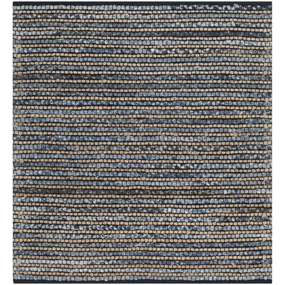 Abia Dark Blue Area Rug Rug Size: Square 4