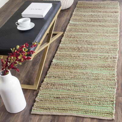 Abia Hand-Woven Light Green Area Rug Rug Size: Runner 23 x 6