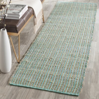 Abia Hand-Woven Green Area Rug Rug Size: Runner 23 x 8