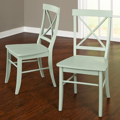 Brookwood Solid Wood Side Chair Color: Mint