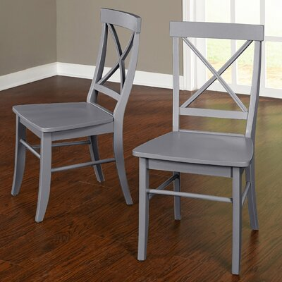 Brookwood Solid Wood Side Chair Color: Gray