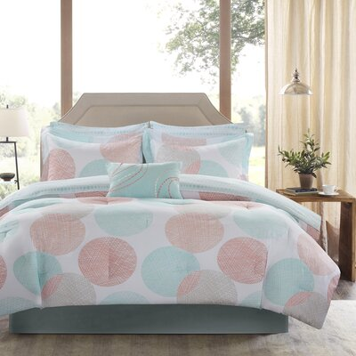 Waveside Comforter Set Size: King, Color: Coral/Aqua