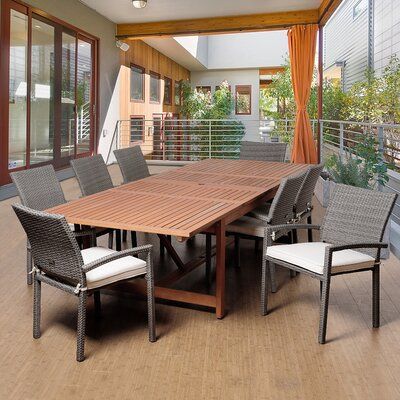 Ashford 9 Piece Rectangular Wood Dining Set With Cushions