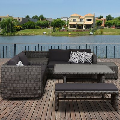Aquia Creek 5 Piece Patio Dining Set with Cushions and Storage