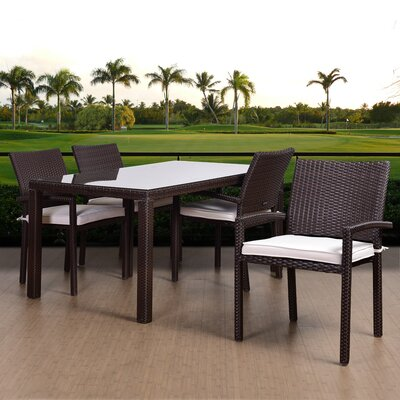 Aquia Creek Patio 5 Piece Dining Set with Cushions Finish: Brown
