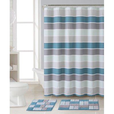 Rawlings 3 Piece Shower Curtain Set Color: Aqua