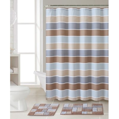 Rawlings 3 Piece Shower Curtain Set Color: Brown