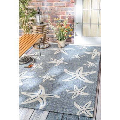 Bernardston Hand-Hooked Dark Blue Area Rug Rug Size: Rectangle 8 x 10