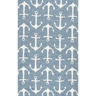 Mendon Hand-Hooked Dark Blue Indoor/Outdoor Area Rug Rug Size: 5 x 8