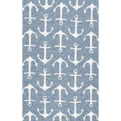 Mendon Hand-Hooked Dark Blue Indoor/Outdoor Area Rug Rug Size: 8 x 10