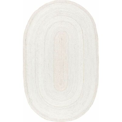 Burrillville Hand-Woven White Area Rug Rug Size: Oval 5 x 8