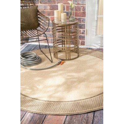 Bourne Beige Outdoor Area Rug Rug Size: Round 63
