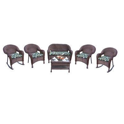 Kingsmill 6 Piece Lounge Seating Group Set Finish: Coffee, Fabric: Floral