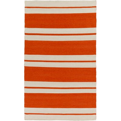 Makrasyka Hand-Woven Orange Indoor/Outdoor Area Rug Rug Size: Rectangle 5 x 76