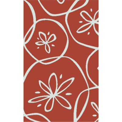 Charlestown Hand-Tufted Bright Orange/Ivory Area Rug Rug size: 33 x 53