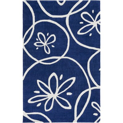 Charlestown Hand-Tufted Dark Blue/Ivory Area Rug Rug size: Rectangle 4 x 6