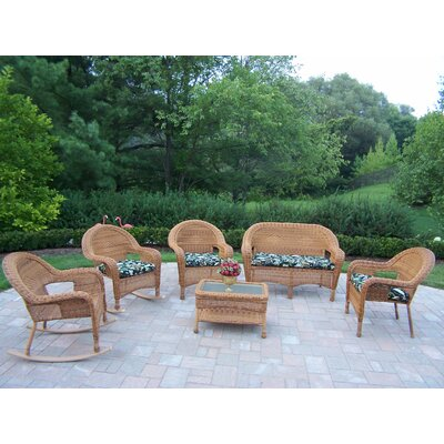 Kingsmill 6 Piece Lounge Seating Group Set Finish: Natural, Fabric: Floral