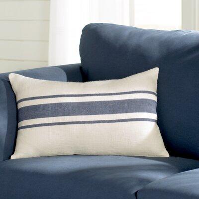 Fairfax Striped Design Jute Throw Pillow Color: Navy Blue