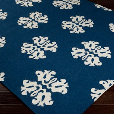 Chastain Midnight Hand Woven Blue/Ivory Floral and Plants Area Rug Rug Size: 2 x 3