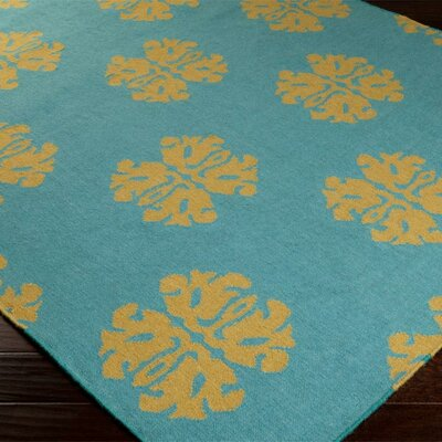 Chastain Teal Floral and Plants Area Rug Rug Size: 2 x 3