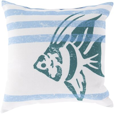 Chaucer Stripes and Fish Outdoor Throw Pillow Size: 26 H x 26 W x 4 D