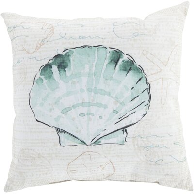 Chaucer Script and Shell Outdoor Throw Pillow Size: 26 H x 26 W x 4 D