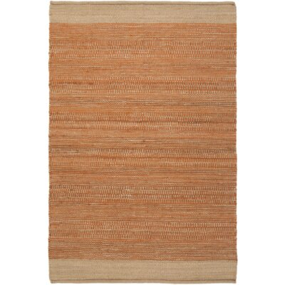 Boughner Hand-Woven Bright Orange/Khaki Area Rug Rug size: Rectangle 4' x 6'
