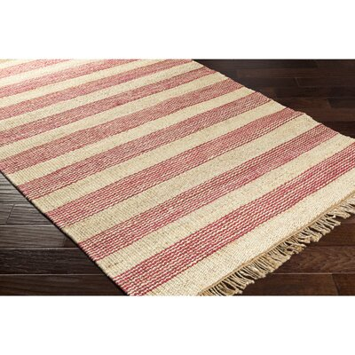 Charlemont Hand-Woven Red/Neutral Area Rug Rug Size: 2 x 3