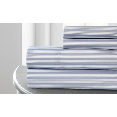 Tram Stripe Printed Microfiber 4 Piece Sheet Set Size: King