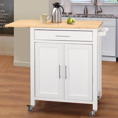 Vina Kitchen Island with Wood Top