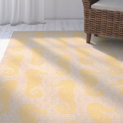 Lake Park Beige/Yellow Indoor/Outdoor Area Rug Rug Size: Rectangle 9 x 12