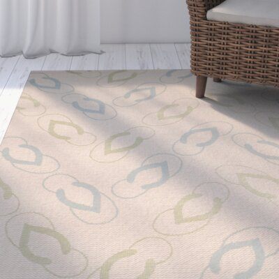 Lake Park Beige/Aqua Indoor/Outdoor Area Rug Rug Size: Rectangle 4 x 57